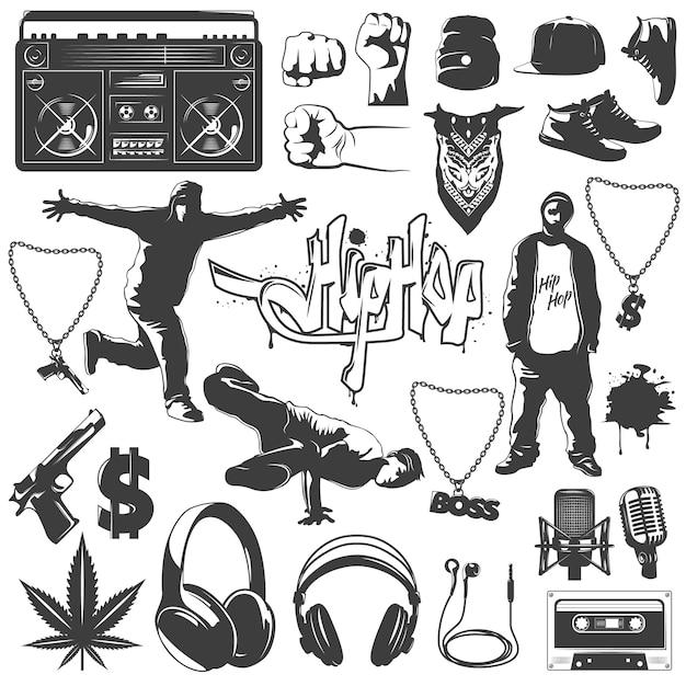 Conjunto de ícones de hip hop Vetor grátis