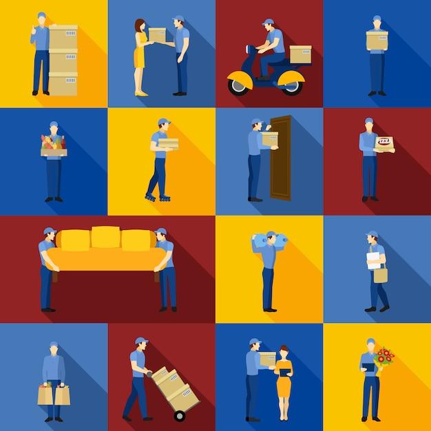 Conjunto de ícones de homem de entrega Vetor grátis