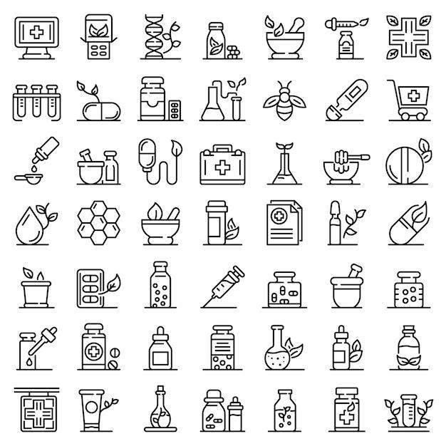 Conjunto de ícones de homeopatia, estilo de estrutura de tópicos Vetor Premium