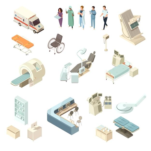Conjunto de ícones de hospital isométrica Vetor grátis
