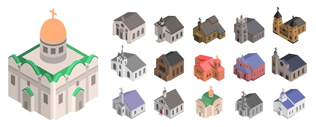 Conjunto de ícones de igreja. isométrico conjunto de ícones de vetor de igreja para web design isolado no fundo branco Vetor Premium