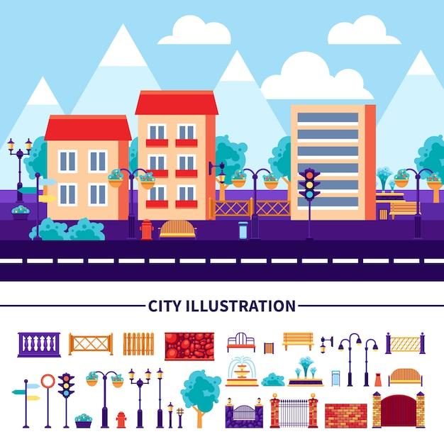 Conjunto de ícones de ilustração de cidade Vetor grátis