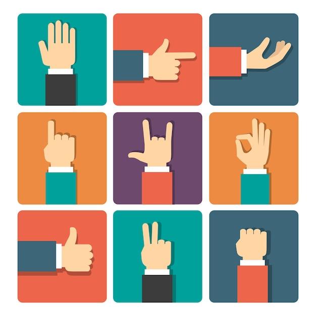 Conjunto de ícones de ilustração vetorial de gestos com as mãos Vetor grátis