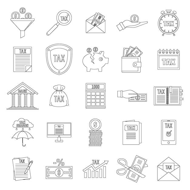 Conjunto de ícones de impostos Vetor Premium