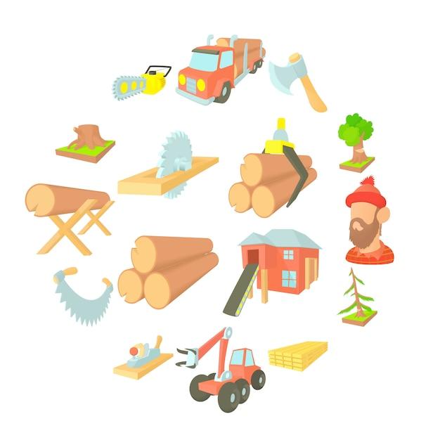 Conjunto de ícones de indústria de madeira, cartoon ctyle Vetor Premium