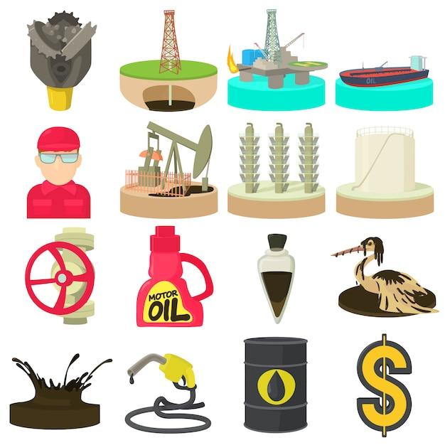 Conjunto de ícones de indústria de petróleo e energia Vetor Premium