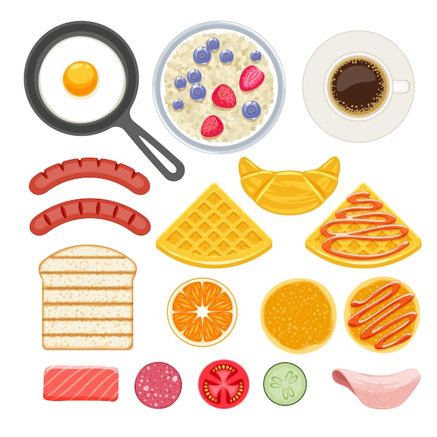 Conjunto de ícones de ingredientes de café da manhã. Vetor Premium