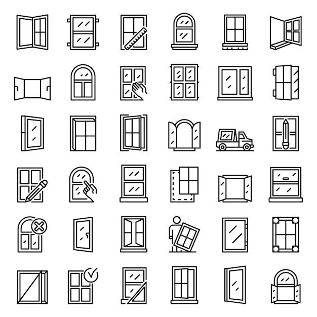 Conjunto de ícones de instalação de janela, estilo de estrutura de tópicos Vetor Premium