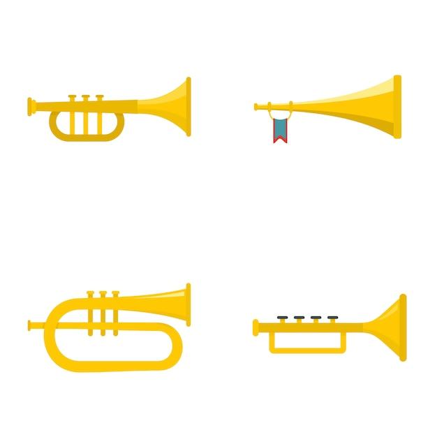 Conjunto de ícones de instrumento musical de trompete de trompete Vetor Premium