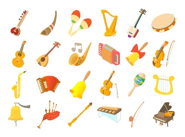 Conjunto de ícones de instrumento musical Vetor Premium