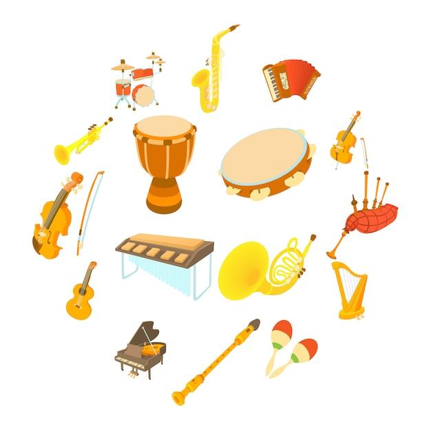 Conjunto de ícones de instrumentos musicais, estilo cartoon Vetor Premium