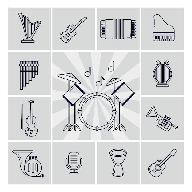 Conjunto de ícones de instrumentos musicais lineares Vetor Premium