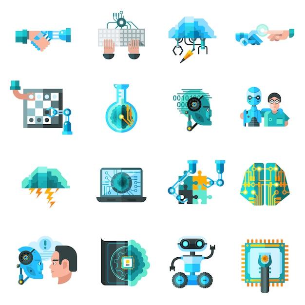 Conjunto de ícones de inteligência artificial Vetor grátis