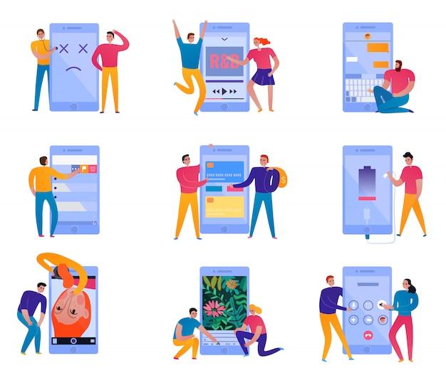 Conjunto de ícones de interação do telefone Vetor grátis