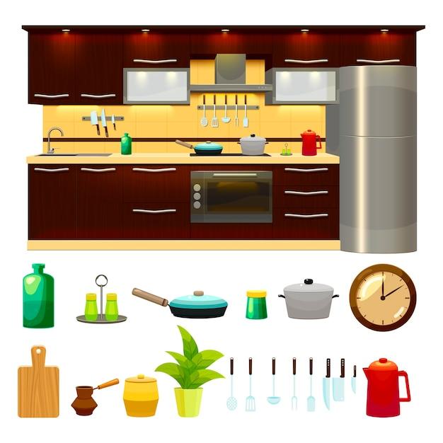 Conjunto de ícones de interiores de cozinha e ilustração Vetor grátis