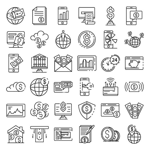 Conjunto de ícones de internet banking, estilo de estrutura de tópicos Vetor Premium