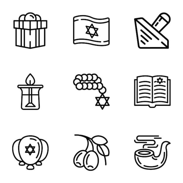 Conjunto de ícones de israel, estilo de estrutura de tópicos Vetor Premium