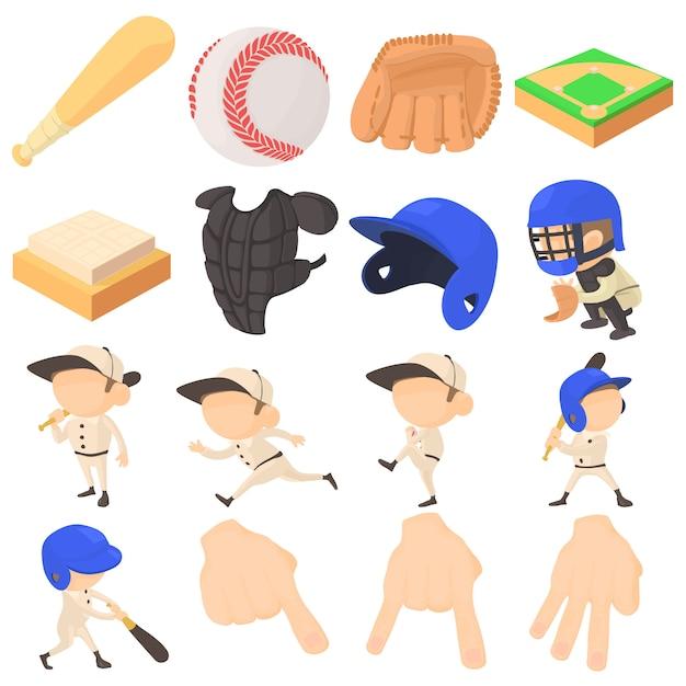 Conjunto de ícones de itens de beisebol Vetor Premium