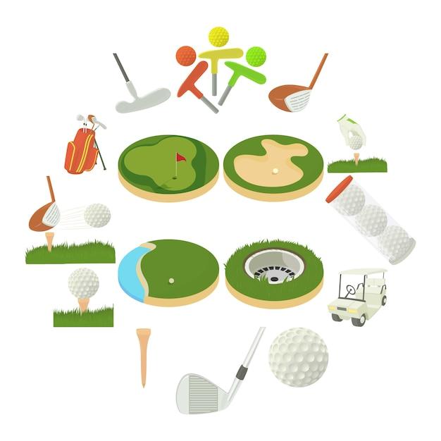 Conjunto de ícones de itens de golfe, estilo cartoon Vetor Premium