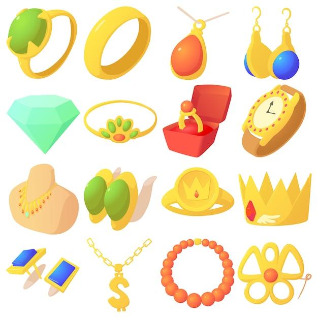 Conjunto de ícones de itens de joias Vetor Premium