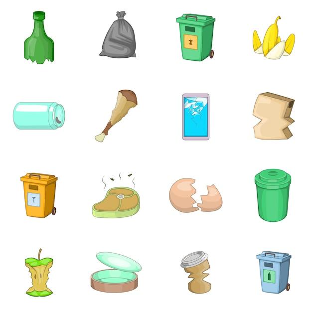 Conjunto de ícones de itens de lixo Vetor Premium