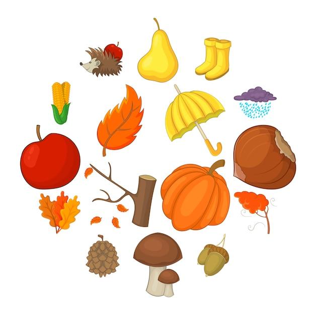 Conjunto de ícones de itens de outono, estilo cartoon Vetor Premium