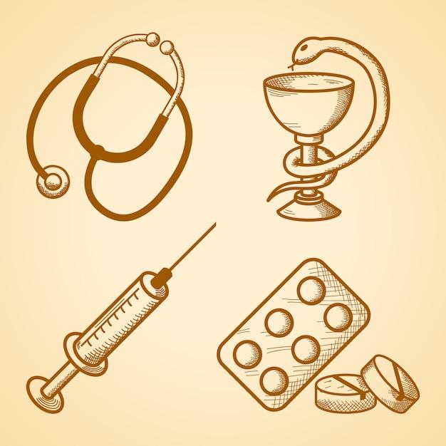 Conjunto de ícones de itens médicos Vetor grátis