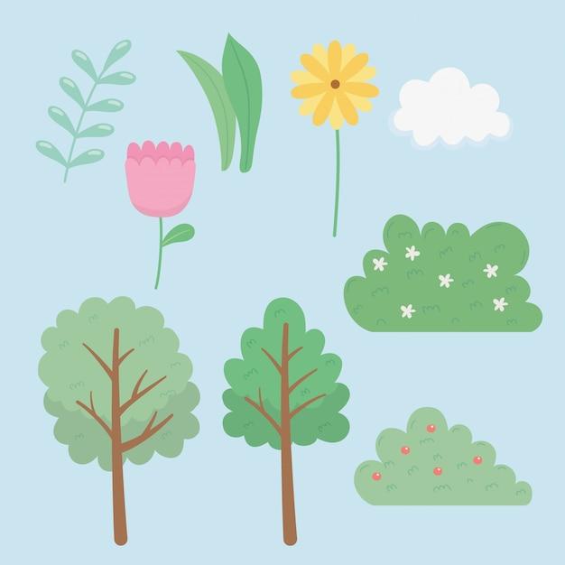 Conjunto de ícones de jardim de elementos Vetor Premium