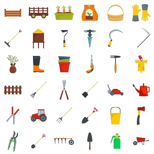 Conjunto de ícones de jardim de equipamentos agrícolas Vetor Premium