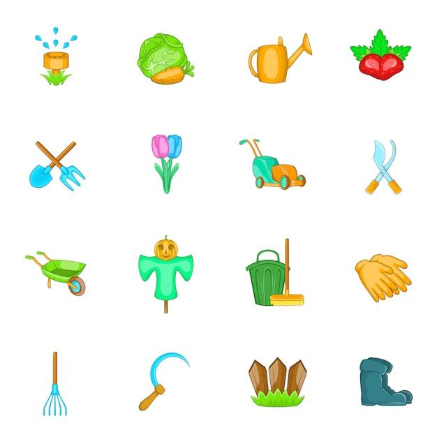 Conjunto de ícones de jardim Vetor Premium
