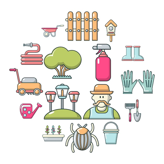 Conjunto de ícones de jardineiro, estilo cartoon Vetor Premium