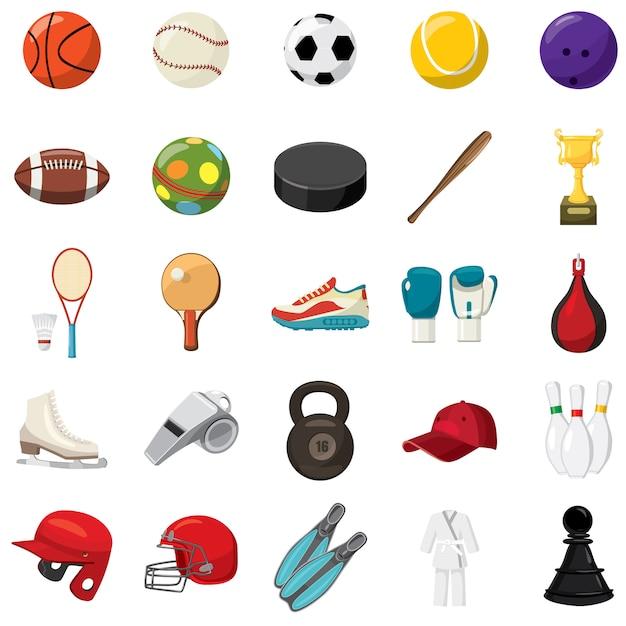 Conjunto de ícones de jogo de esporte em estilo cartoon Vetor Premium