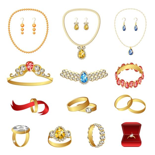 Conjunto de ícones de joias, estilo cartoon Vetor Premium