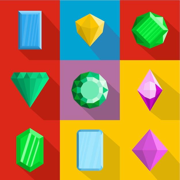 Conjunto de ícones de joias. plano conjunto de 9 ícones de jóias Vetor Premium