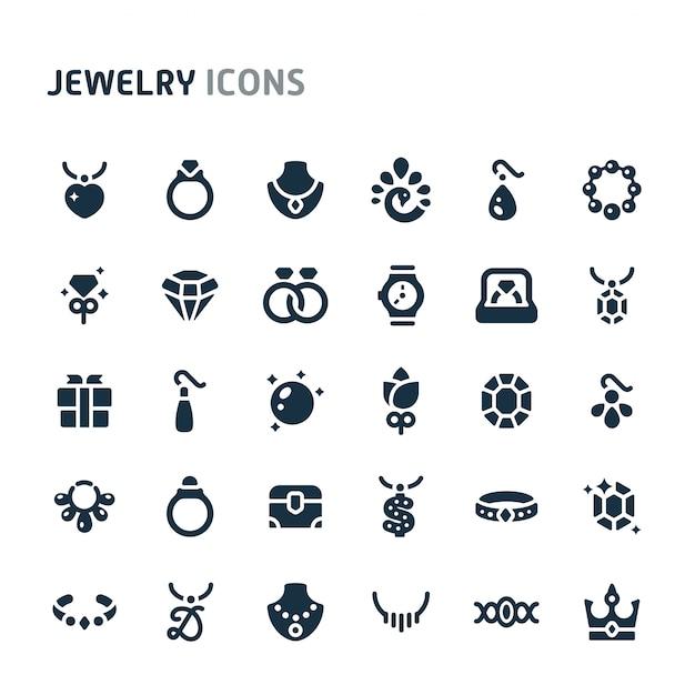 Conjunto de ícones de jóias. série de ícone preto fillio. Vetor Premium
