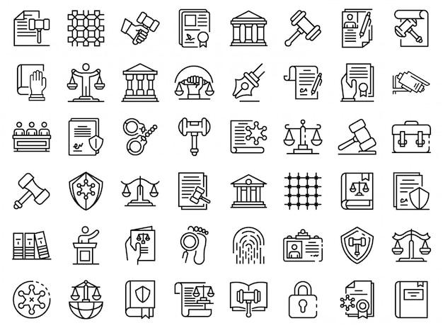 Conjunto de ícones de justiça, estilo de estrutura de tópicos Vetor Premium