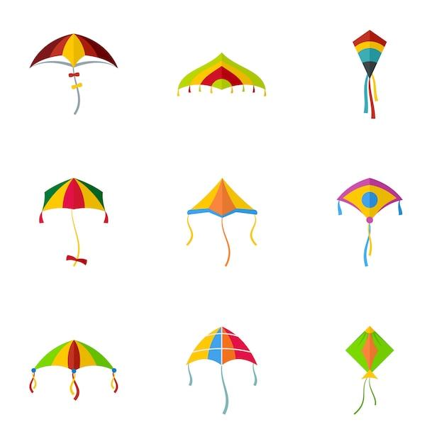 Conjunto de ícones de kite mosca fofa, estilo simples Vetor Premium