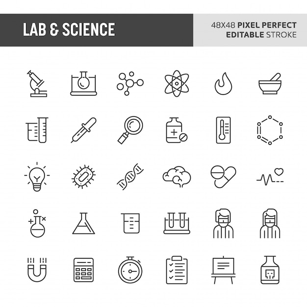 Conjunto de ícones de laboratório e ciência Vetor Premium