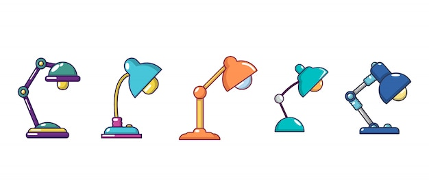Conjunto de ícones de lâmpada de mesa. conjunto de desenhos animados de ícones de vetor de candeeiro de mesa conjunto isolado Vetor Premium