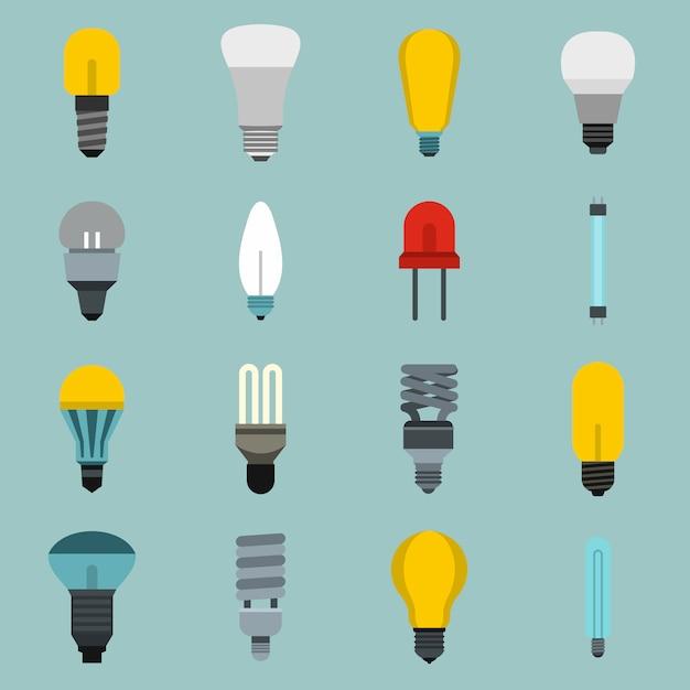 Conjunto de ícones de lâmpada Vetor Premium