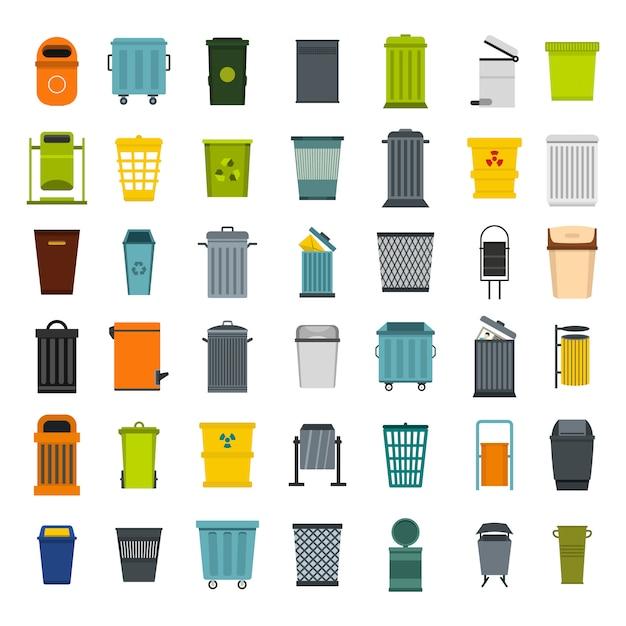 Conjunto de ícones de lata de lixo. conjunto plano de coleção de ícones de vetor de lata de lixo isolado Vetor Premium