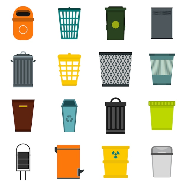 Conjunto de ícones de lata de lixo Vetor Premium
