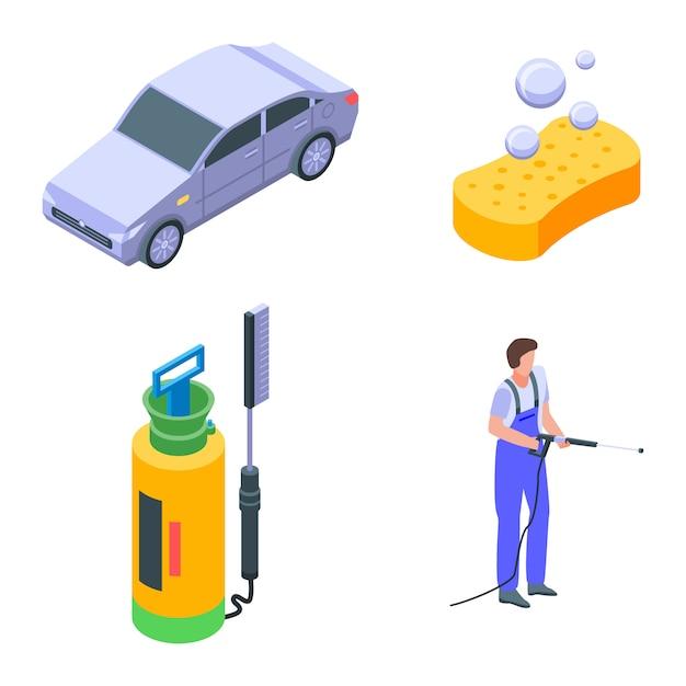 Conjunto de ícones de lavagem de carro, estilo isométrico Vetor Premium