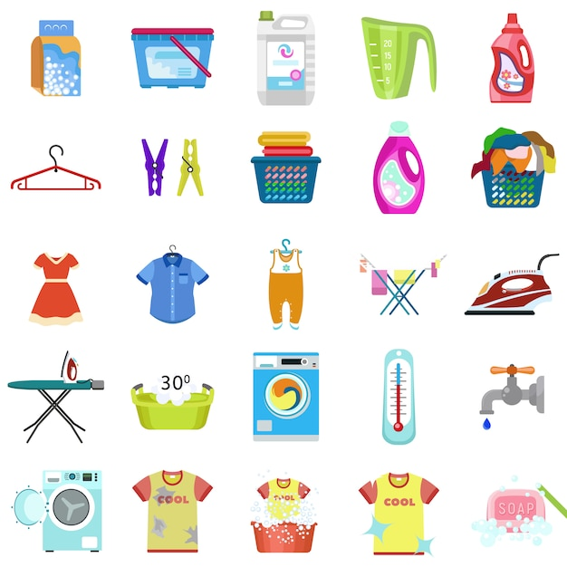 Conjunto de ícones de lavanderia. conjunto plano de vetor de roupa Vetor Premium