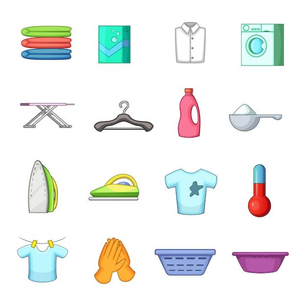 Conjunto de ícones de lavanderia Vetor Premium