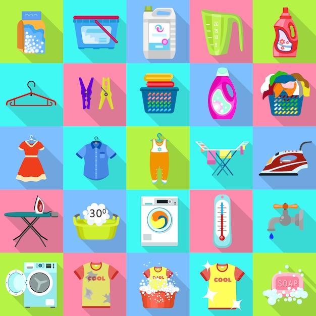 Conjunto de ícones de lavanderia. Vetor Premium