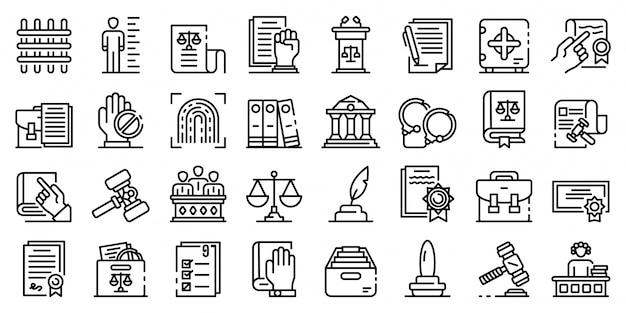 Conjunto de ícones de legislação, estilo de estrutura de tópicos Vetor Premium