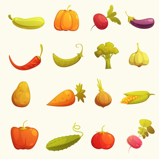 Conjunto de ícones de legumes flat retro Vetor grátis