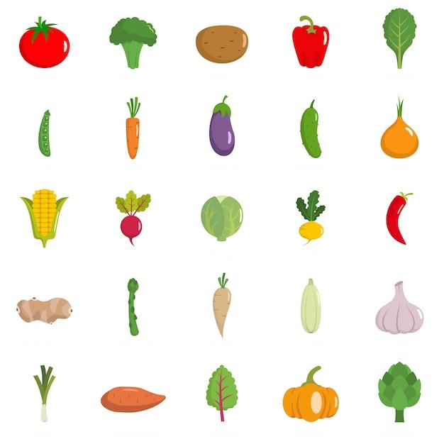Conjunto de ícones de legumes Vetor Premium