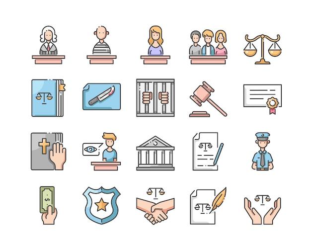 Conjunto de ícones de lei e justiça Vetor Premium